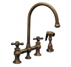 Whitehaus Vintage III cross handles gooseneck faucet